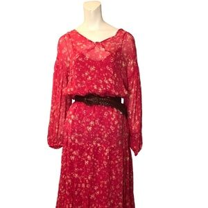 Free People Floral Long Sleeve Maxi Dress NWT